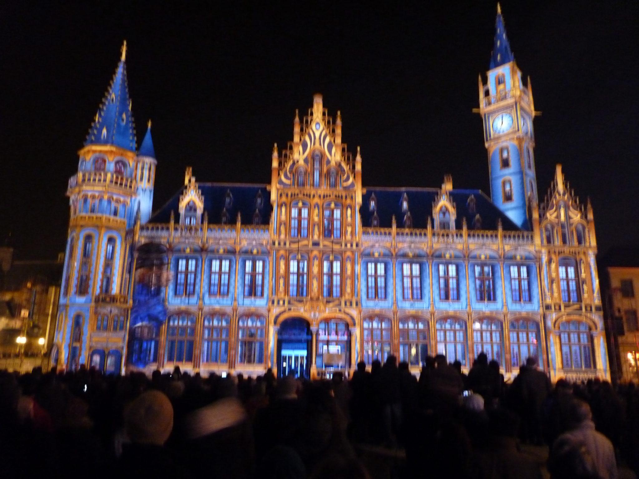 Lichtfestival in de stad Gent.